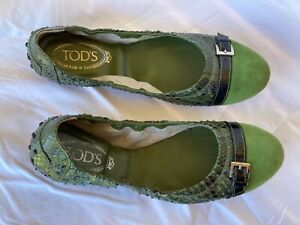TOD'S Ballet Flats Green Snakeskin Size 39 1/2
