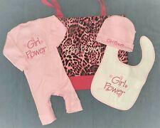 Personalized Baby CREEPER / Romper, HAT, BIB & Leopard Diaper TOTE BAG Gift Set