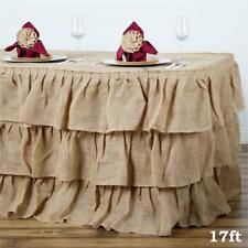 17 ft Natural Burlap TABLE SKIRT 3 Tiers Ruffles Wedding Party Catering Supply