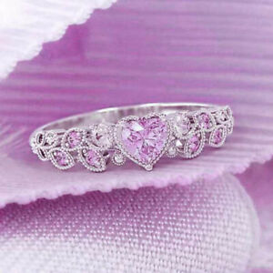 Elegant 925 Silver Wedding Rings for Women Heart Cut Pink Sapphire Ring Size 9