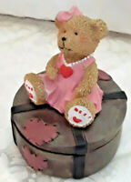Nice Colorful Gift Teddy Bear Hinged Trinket Box Stocking Stuffer Christmas