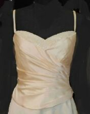 ALFRED ANGELO $199 SZ 8 BUTTER YELLOW SATIN BEADED NECK BRIDESMAID PROM FORMAL