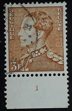 c.1936 Belgium 3F brown King Leopold III stamp w Plate Number Used