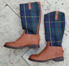Authentic Ralph Lauren Girls Leather Plaid Fabric Riding Boots 5Y, Eur 37