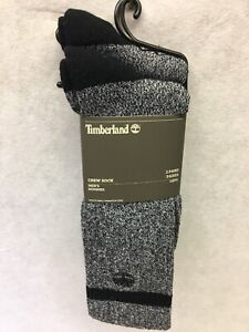Timberland Boot Crew Socks 2 Pairs One Size FIts Most  Black And Gray