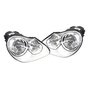 Pair Set of Left & Right Headlights Assemblies Halogen For Cayenne 03-06 V6 V8