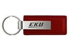 Eastern Kentucky University - Leather and Metal Keychain - Burgundy