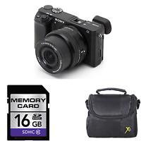Sony Alpha a6000 Mirrorless Digital Camera - Black w/16-50mm Lens + 16GB & Case
