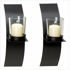 Gifts  Decor Modern Art Candle Holder Wall Sconce Plaque, Set of 2, New