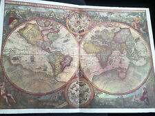 More details for 1596 antique world map orbis terra vrient 58cm x 40cm (23in x 16in) xmas gift