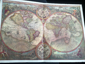 1596 Antique World Map ORBIS TERRA Vrient 58cm x 40cm (23in x 16in) Xmas Gift