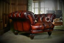 TETRAD OSKAR GRAND TOUR CONKER BROWN LEATHER CHESTERFIELD CLUB CHAIR 1 of a PAIR