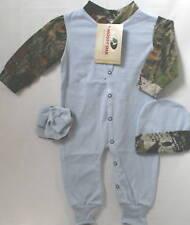 MOSSY OAK & BLUE CAMOUFLAGE BABY SLEEPER, HAT, BOOTIES