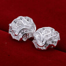 Silver Plated Rose Floral Stud Earrings 14mm x 14mm