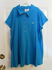 Duo Maternity SS Polo Shirt  Blue with Butterfly Nwt