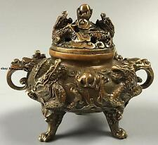 China Brass carved Two Dragons Play Bead Incense Burner Censer Statue