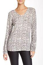 Kier + J NWT $290 Python Animal Print V-Neck 100% Cashmere Sweater sz XS