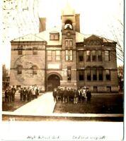 1908 La Porte City, Iowa High School Building Students RPPC Photo Postcard IA