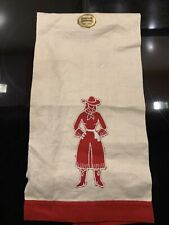 New listing Vintage Imperial Towel Mcm Pure Linen Hand Towel Red Cowgirl