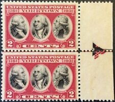 1931 2c Yorktown commemorative Arrow pair right, Scott #703, MNG, Fine