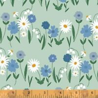 Clearance Sale~Daisy Chain~Daisies on Blue Cotton Fabric by Windham Fabrics