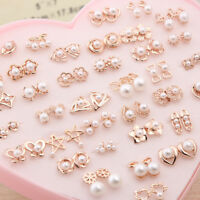 1/12/36 Pairs Fashion Women Simple Pearl Gold/Silver Plated Ear Stud Earrings