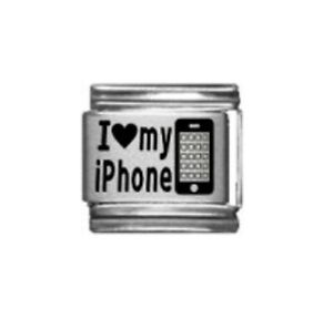 9mm Classic Size Italian Charm  L15 I love My iPhone Fits Classic Size Bracelet