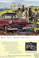 Ford Taunus 15 M Reklame von 1955 Werbung Pferde Pferdekoppel Reiter Dame ad ßß