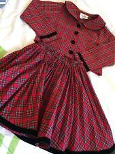 Rare Editions Girls 2 Piece Tartan Plaid Pleated Skirt Velvet Accents & Top Sz 6