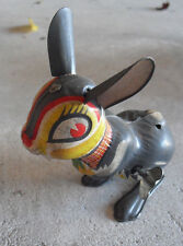 "Vintage 1950s Japan Windup Tin Litho Bunny Rabbit 4 1/2"" Tall"