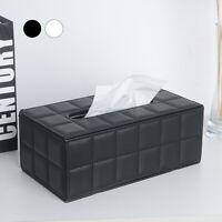 Leather Tissue Box Holder Cover Napkin Case Table Car Room Office Elegant Home
