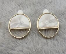 CLIP ON 2cm circle FAUX MOP SHELL PEARL RETRO EARRINGS geometric GOLD TONE clips
