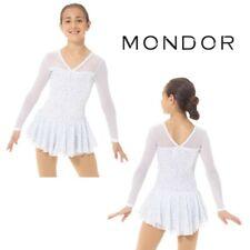 MONDOR White Glitter Velvet Figure Skating Competition Dress Child & Adult Sizes