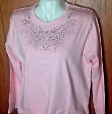 NEW PINK WOMEN  SHIRT TOP EMBELLISHED RHINESTONE LEAVES DESIGN    size XL