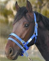 Monty Roberts Dually Halter Large Blue Nylon Headcollar with How to use it DVD