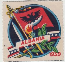 Stamp Albania propaganda Cinderella label showing flag, sword, torch, etc