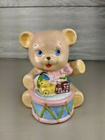 Vintage Enesco Ceramic Stitched Teddy Bear with Drum and Toys Coin Bank 6 Inches