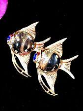 1944 CORO VERMEIL STERLING RHINESTONE JELLY BELLY ANGEL FISH DUETTE BROOCH CLIP