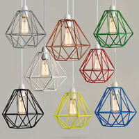 Industrial Metal Ceiling Pendant Light Shade Geometric Wire Cage Lampshade Lamp