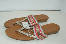 Lane Bryant Women's 11 W Beaded Wedge Flip Flop Thong Sandals Gold New!