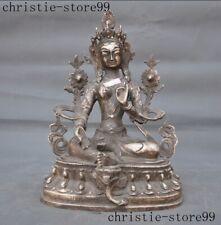 Tibet Buddhism Tibetan silver green Tara Kwan-yin Guanyin goddess Buddha Statue