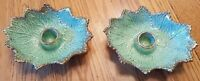California #607 Cabbage Leaf Pair of Candle Holders Splatterware Aqua MCM USA