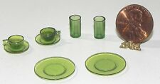 Dollhouse Miniature Green Dishes Cups Coffee Chrysnbon 1:12 Scale