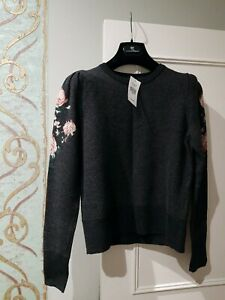 Club Monaco sweater jumper roses charcoal  extra fine merino wool £145. NEW