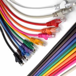 Ethernet Network Cable Cat5e RJ45 Internet Patch Lead Lot 1m 2m 3m 5m 10m To 50m