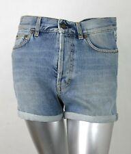 cb5b648137b $550 Saint Laurent Women's Dirty Blue Denim 80s Cuffed Shorts 26 447987 4461