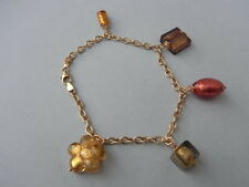 Damen Armband Massiv 375 Gold 9 Kt Gelbgold 19cm bracelet Anhänger Murano Glass