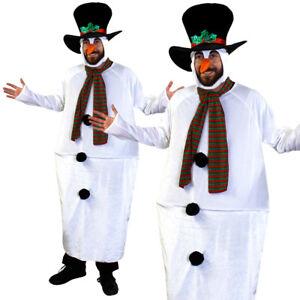 FAT SNOWMAN CHRISTMAS FANCY DRESS COSTUME HAT XMAS PARTY FUNNY NOVELTY SUIT