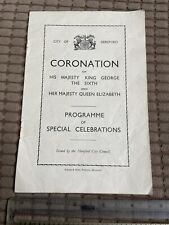 City of Hereford Coronation Programme 1937 - King George 6th and Queen Elizabeth