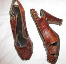 40's SAKS REDBROOKE DELUXE alligator croc leather pin up slinback pumps shoes **